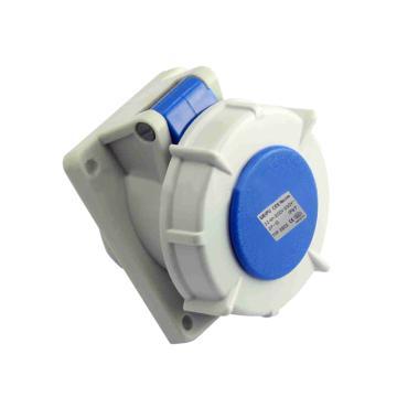 威浦TYP系列暗装斜式工业插座,3P 32A 230V IP67 蓝色,3802