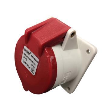 威浦TYP系列暗装直式工业插座,4P 32A 400V IP44 红色,5818