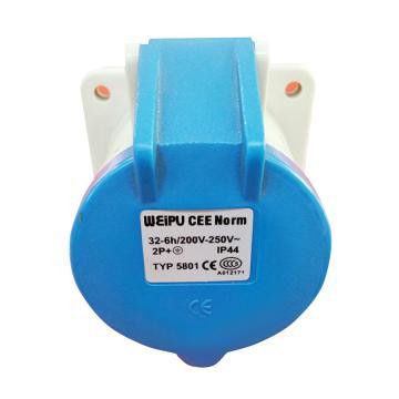 威浦TYP系列暗装直式工业插座,3P 32A 230V IP44 蓝色,5801
