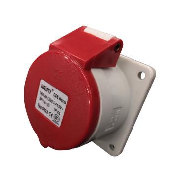 威浦TYP系列暗装直式工业插座,5P 16A 400V IP44 红色,5623