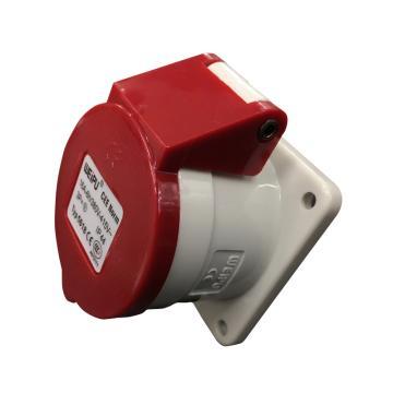 威浦TYP系列暗装直式工业插座,4P 16A 400V IP44 红色,5618