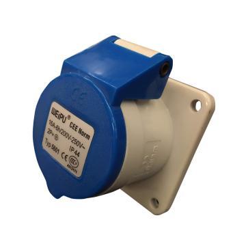 威浦TYP系列暗装直式工业插座,3P 16A 230V IP44 蓝色,5601