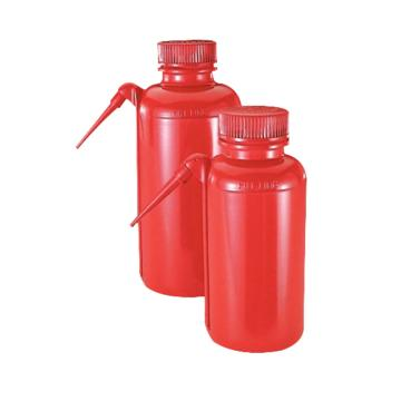 NALGENE UnitaryTM安全洗瓶,红色低密度聚乙烯瓶体/装管;聚丙烯螺旋盖,500ml容量