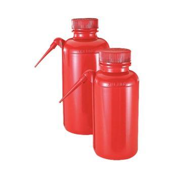 NALGENE UnitaryTM安全洗瓶,红色低密度聚乙烯瓶体/装管;聚丙烯螺旋盖,250ml容量