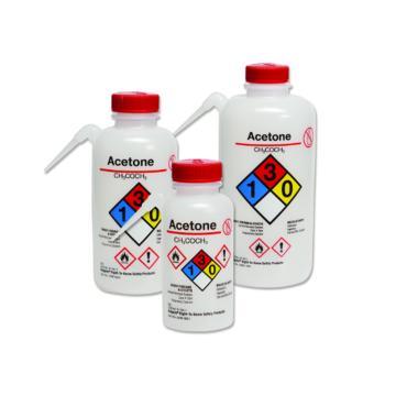 NALGENE可通气UnitaryTM安全洗瓶,LDPE瓶体;PP或HDPE盖,PTFE滤膜,500容量,普通酒精,白色瓶盖