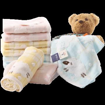 金号毛巾,90g 74*34cm G1757WH,纯棉无捻双层纱布白云羊羊情侣面巾