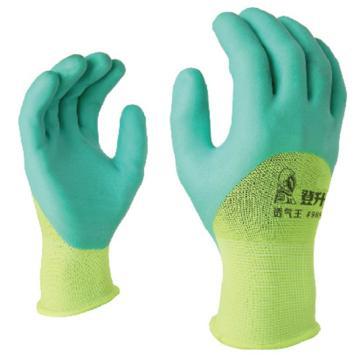 登升989浅绿胶透气王手套