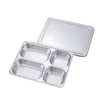 不锈钢304快餐盘,方形四格带不锈钢盖 28cmx22cmx4cm 单位:个