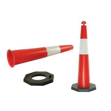 可移动式警示隔离锥-高性能PE材质,原生橡胶底座,覆工程级反光膜,400×400×1150mm,14478
