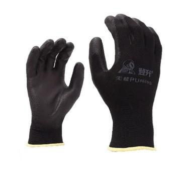 登升 PU涂层手套,669,黑色 尺码:7