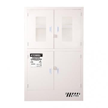 SYSBEL 强腐蚀性化学品安全存储柜(带可视窗),CE认证,48G(182L),白色/手动,不含接地线 ACP810048T