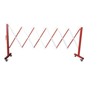 伸缩隔离栏 全铁材质 高950mm长度范围290-3500mm B2U 自带滚轮,红/白