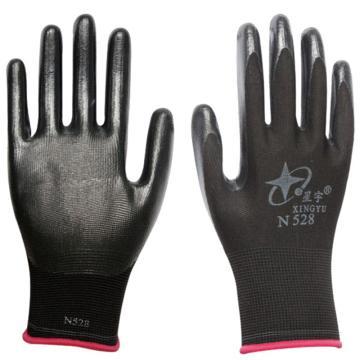 星宇 丁腈涂层手套,N528,十三针彩尼龙丁腈手套黑色,12副/打