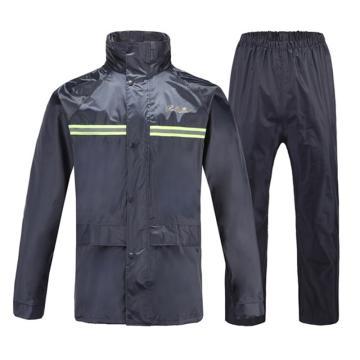 天堂牌尼龙绸雨衣,藏青色,带反光条,尺码:XL