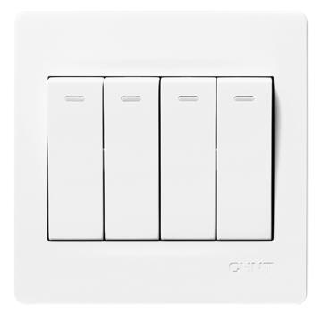 正泰 NEW7S系列四联单控开关10A,NEW7-S00700A 白色