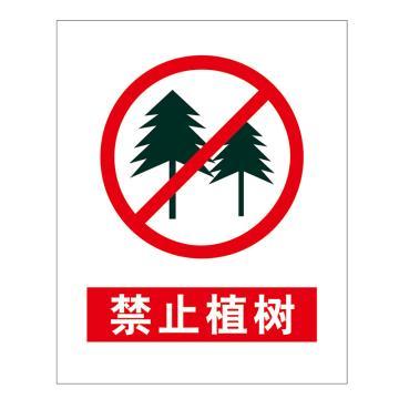 鸿依帆 电力安全标识,禁止植树,PVC+背胶,200*160mm