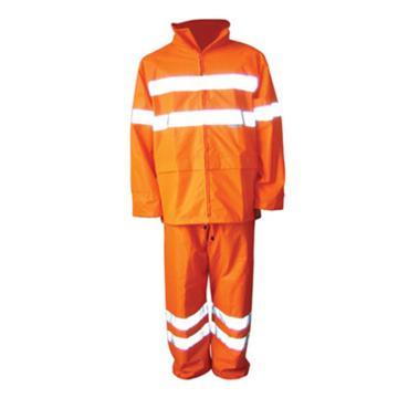 安大叔 高可视性反光雨衣,荧光橙,M