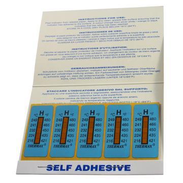 温度美/TMC 热敏贴纸Thermax不可逆系列5格H,216/224/232/241/249℃,1包10片