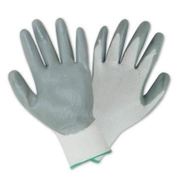 100%精细长尼龙针织手芯丁腈涂层手套,尺码:L
