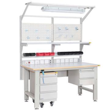 森亿 防静电框架工作台1530*900(含单抽,含移动柜、含钢制电源盒),SEG-01-B