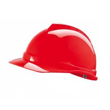 MSA V-Gard PE豪华型安全帽,红,超爱戴帽衬,灰针织布吸汗带,涤纶顶带,D型下颏带,10172515