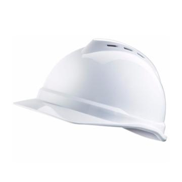 MSA V-Gard PE豪华型安全帽,白,超爱戴帽衬,灰针织布吸汗带,涤纶顶带,D型下颏带,10172512