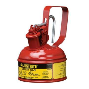JUSTRITE/杰斯瑞特 Ⅰ型钢制安全罐-红色(释放扳柄),0.13加仑/0.5升,10001