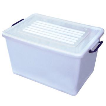 恋亚 PP整理箱,白色,外径尺寸(mm):570*400*320,容积:60L,承重:54kg,4个轮子