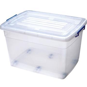 恋亚 PP整理箱,白色,外径尺寸(mm):615*440*360,容积:70L,承重:62.4kg,6个轮子