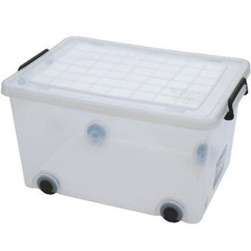 恋亚 PP整理箱,白色,外径尺寸(mm):525*375*300,容积:55,承重:43.8kg,4个轮子