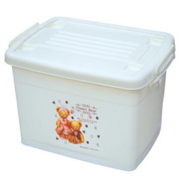 恋亚 PP整理箱,米黄色,外径尺寸(mm):485*355*265,容积:35L,承重:30.8kg,4个轮子