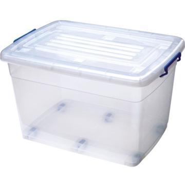 恋亚 PP高透整理箱,白色,外径尺寸(mm):680*490*405,容积:90L,承重:98.3kg,6个轮子
