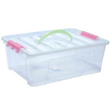 西域推荐 PP高透整理箱,透明,外径尺寸(mm):405*280*150,容积:12L,承重:12.5kg