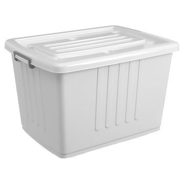 白色带盖PP整理箱,外尺寸:73*52*45cm,容积:150L,底部配6个滑轮,载重:30KG,VF001