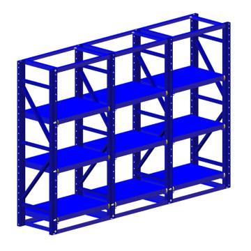 博储 半抽模具架,L3060*W600*H2000,3层,800KG/层,蓝色,BC-MB-0303(安装费另询)