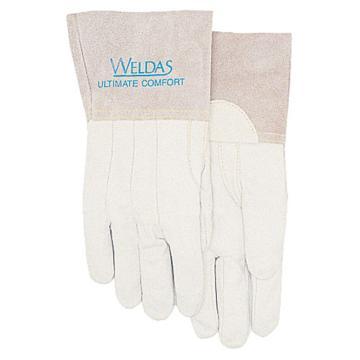 威特仕 焊接手套,10-2036-XL,白色牛青中袖手感宝TIG手套