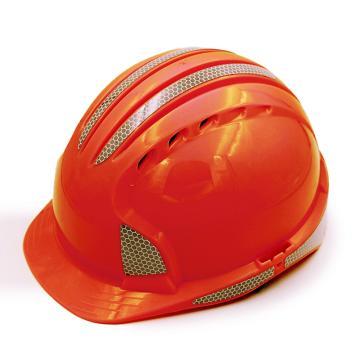 洁适比JSP 安全帽,01-9625,威力9 ABS T类安全帽 红色 反光贴膜(调整轮)