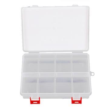 力易得 塑料零件盒,205×140×45mm,插片8格