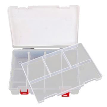 力易得 塑料零件盒,234×168×62mm,插片8格,两层
