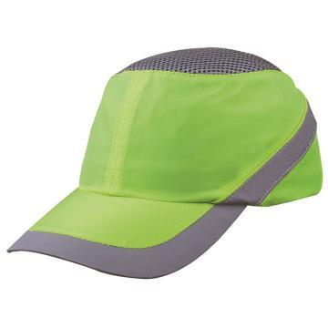 代尔塔102110-JA 透气型运动防撞帽,荧光黄,帽檐7cm