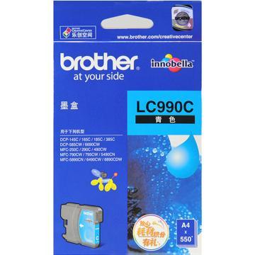 兄弟墨盒, LC990C 青色  (适用 DCP-185C/585CW/385C/165C/145C/MFC-790CW/490CW/290C/250C/DCP-6690/MFC-5890/6490/6890、550页)