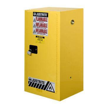 JUSTRITE/杰斯瑞特 黄色易燃液体存储柜,FM认证,15加仑/57升,单门/手动,紧凑式,8915001
