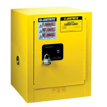 JUSTRITE/杰斯瑞特 黄色易燃液体存储柜,4加仑/15升,单门/手动,工作台式,8904001
