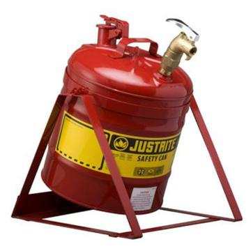 JUSTRITE/杰斯瑞特 红色倾斜安全罐,5加仑/19升,带龙头08902和支架,7150156