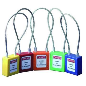 钢缆线安全挂锁(红)-高强度工程塑料锁体,钢缆线锁梁,红色,钢缆线Φ3.2mm×150mm,14685