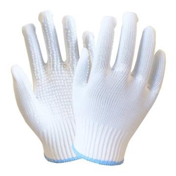海太尔 0024 尼龙点塑手套,针织手腕,PVC点塑,白色,230mm