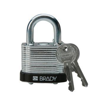 """贝迪BRADY 钢锁,0.75""""/1.9cm锁钩,锁芯互异,黑色,99520"""