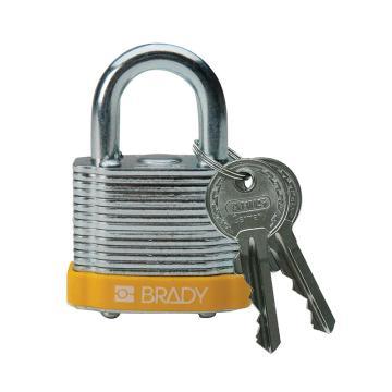 """贝迪BRADY 钢锁,0.75""""/1.9cm锁钩,锁芯互异,黄色,99512"""