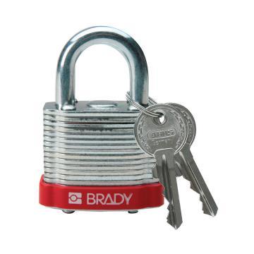 """贝迪BRADY 钢锁,0.75""""/1.9cm锁钩,锁芯互异,红色,99500"""