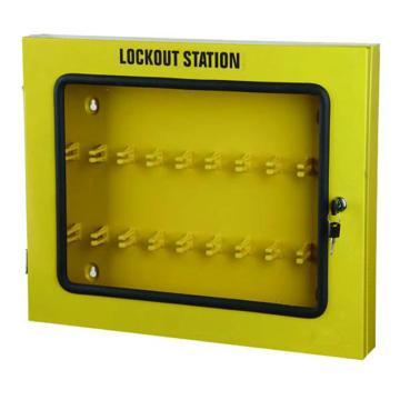 安赛瑞 锁具管理箱(空箱)-黄色粉末喷涂钢板,透明箱门可上锁,560×460×70mm,14738